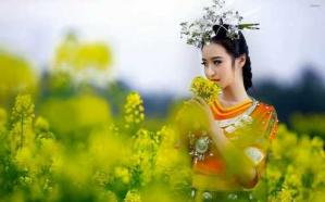 Beautiful geisha smelling the flower