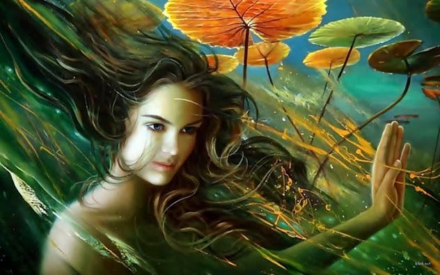 Belle femme feuilles