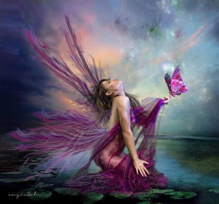 Belle image femme papillon