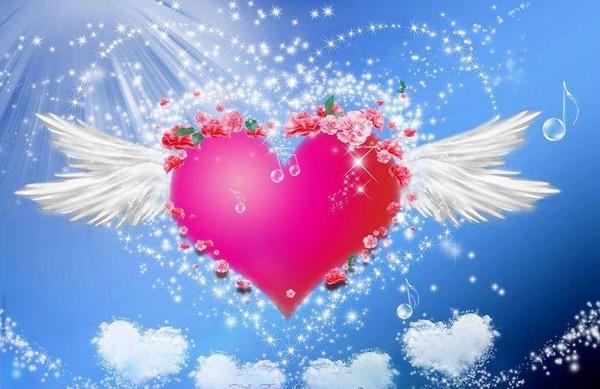 Coeur ailes roses