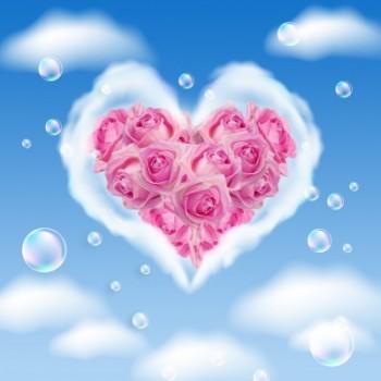 Coeur nuage roses