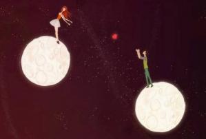 Couple s envoyant un coeur depuis planetes differentes