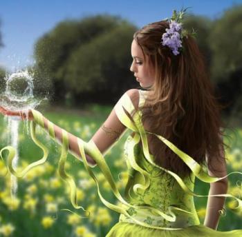 Femme boule eau