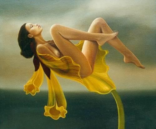 Femme dans fleur