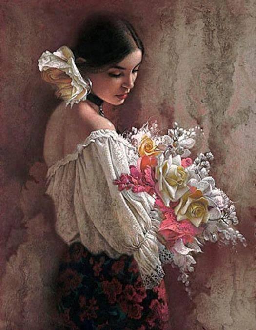 Femme douceur fleurs