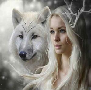 Femme et loup