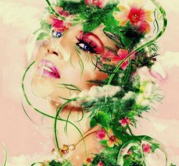 Femme feuilles fleurs