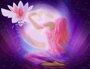 Femme lune lotus