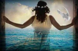 Femme mer colombe