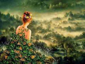Femme papillons paysage