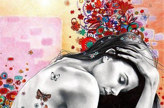 Femme papillons sur le dos