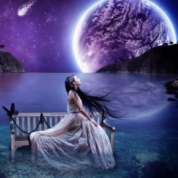 Femme paysage nuit