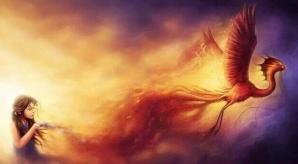 Fillette avec phoenix