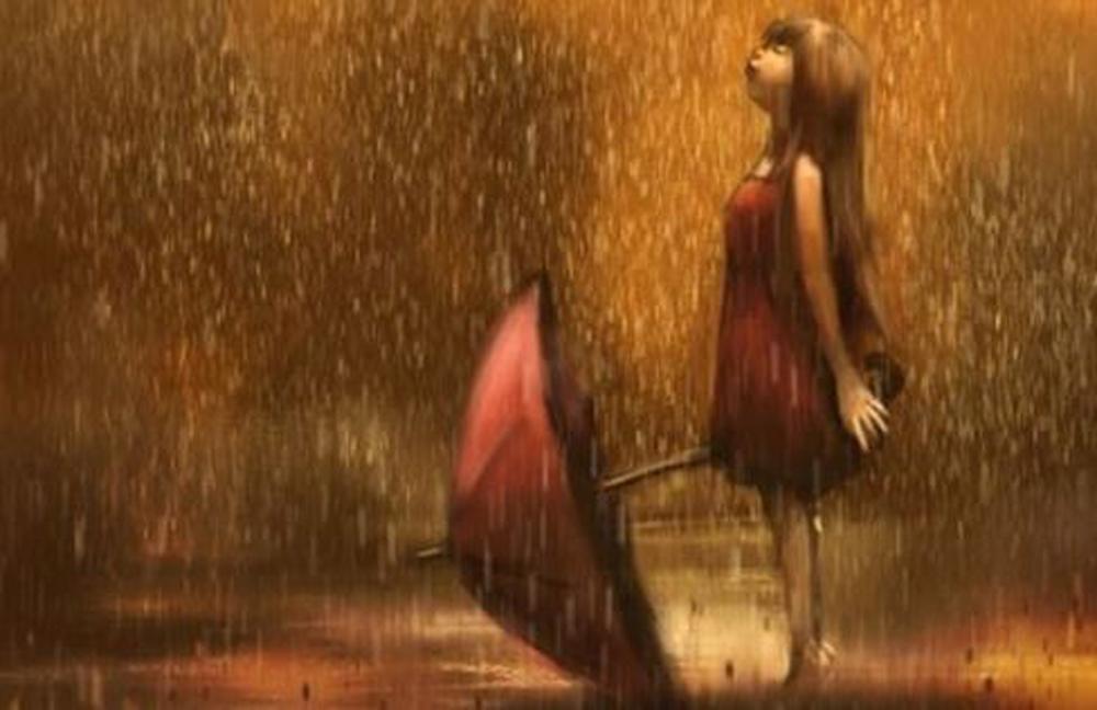 Fillette pluie