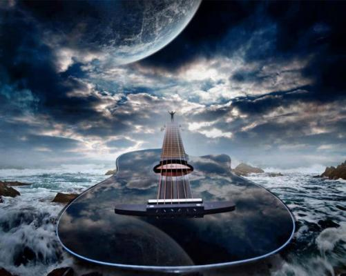Guitare,musique,ciel