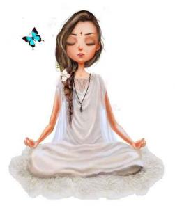 Meditation fillette papillon