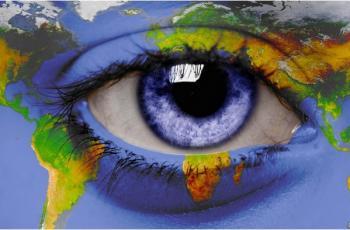 Oeil bleu carte du monde