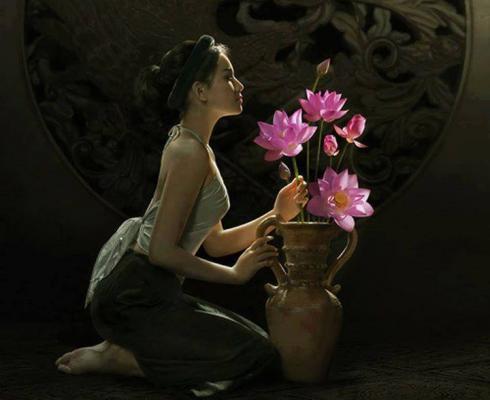 Zen femme fleurs